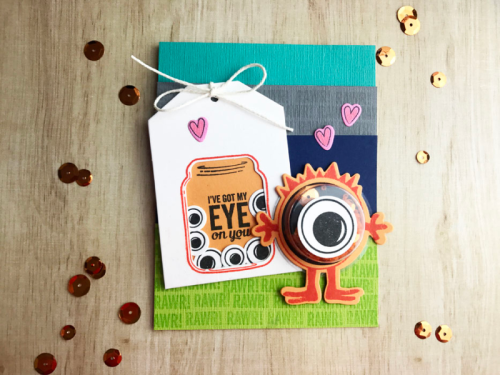 Shape shaker card using the jar shaker tag, small shaker insert, the birdhouse stamp and die set, sequins, and seed beads.  How to create a shape shaker card.  Jillibean Soup cardmaking.  #jillibeansoup #cardmaking #shapeshaker #jartag #circleshaker #stampanddieset