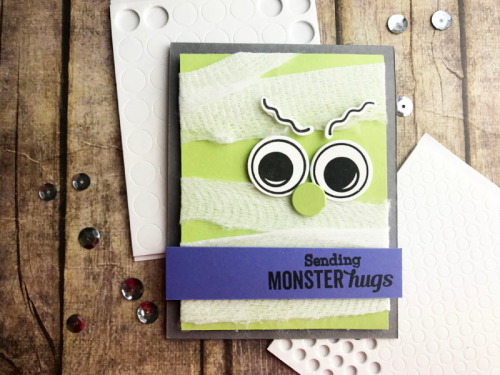 Halloween card using the stamp and die set.  How to stamp on a card.  Jillibean Soup cardmaking.  #jillibeansoup #cardmaking #halloween #stampanddieset #monster #balloonparty