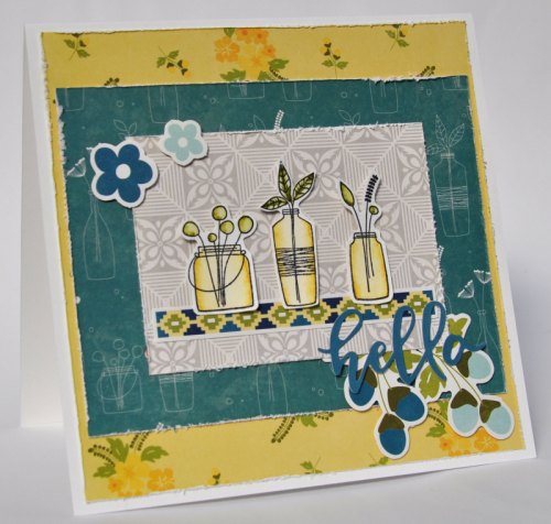 """Bohemian Brew"" card using stamps and pea pod parts.  Jillibean Soup cardmaking.  How to stamp on a scrapbooking layout.  #stamping #jillibeansoup #scrapbooker #bohemianbrew #peapodparts"