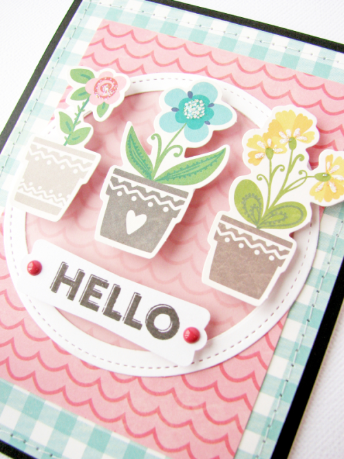 Card created using the Jillibean Soup You Make Miso Happy Collection including patterned paper and pea pod parts and Bohemian Brew clear stamps.  How to stamp on a card.  Jillibean Soup cardmaking.  #jillibeansoup #cardmaking #youmakemisohappy #bohemianbrew #stamping