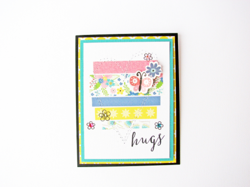 Card created using the Jillibean Soup You Make Miso Happy Collection including patterned paper, washi tape, clear stamps, and pea pod parts.  How to stamp on a card.  Jillibean Soup cardmaking.  #jillibeansoup #cardmaking #youmakemisohappy #stamping