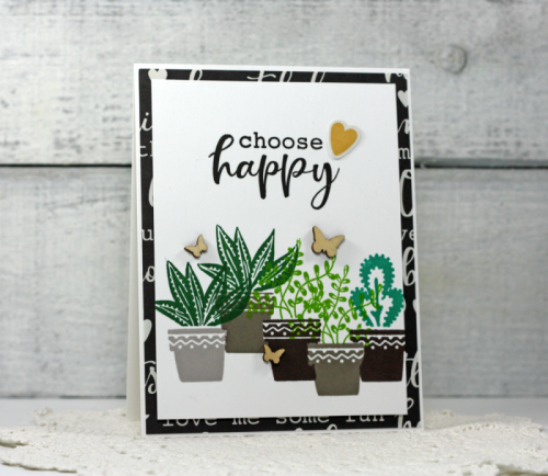 Card created using the Jillibean Soup You Make Miso Happy including patterned paper, clear stamps, pea pod parts, and wood veneer butterflies.  How to stamp on a card.  Jillibean Soup cardmaking.  #jillibeansoup #cardmaking #youmakemisohappy #stamp #woodveneer