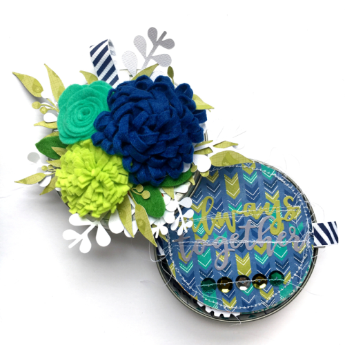 """""""2 Cool For School"""" mini album using the 2 Cool For School patterned paers, soup labels, pea pod parts, and felt flowers.  How to create a mini album using 2 Cool For School.  Jillibean Soup mini album.  #2coolforschool #feltflower #minialbum #peapodparts"""