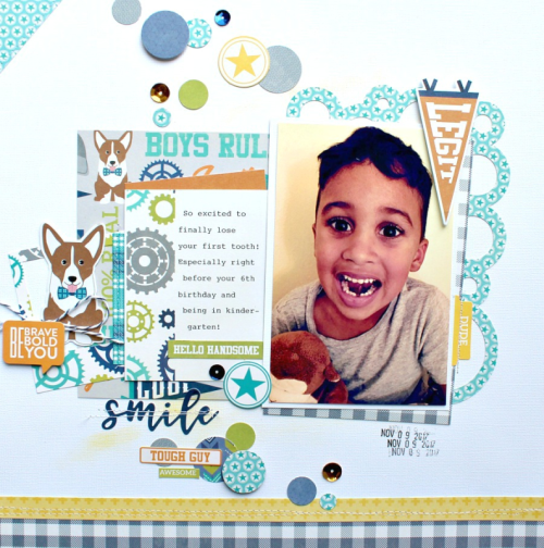 """2 Cool For School"" scrapbooking layout using coordinating stickers, soup labels, pea pod parts, and adhesive sequins.  Jillibean Soup scrapbooking layout.  How to create a scrapbooking layout with embelllishments.  #jillibeansoup #2coolforschool #scrapbooker #coordinatingstickers"