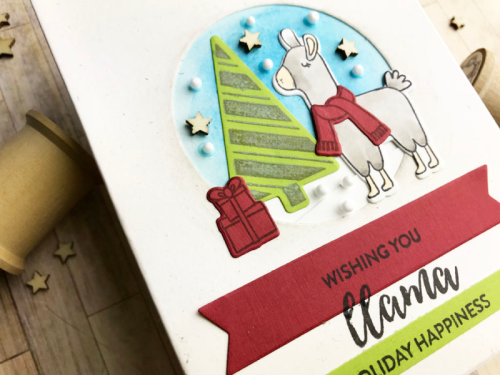 Stamped card using the Jillibean Soup shaker card and stamp and die sets.  How to make a stamped card.  Jillibean Soup cardmaking.  #jillibeansoup #cardmaking #woodveneer #llama #stampanddieset