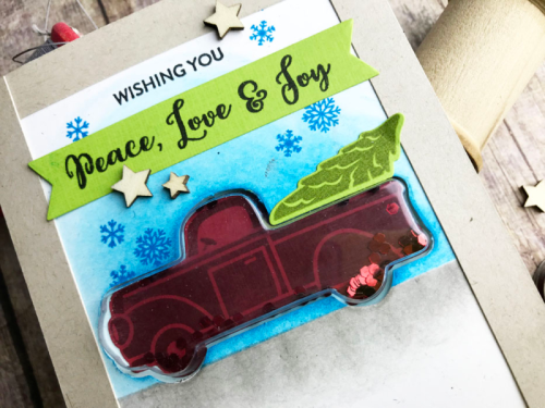 Shape shaker card using the Jilibean Soup truck shaker card and insert, clear stamps and wood veneer shaker fillers.  How to create a shaker card.  Jillibean Soup cardmaking.  #jillibeansoup #cardmaking #shapeshaker #truck #clearstamps #woodveneer