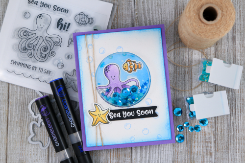 How to create a shape shaker card with the Octopus Clear Stamp & Die Set Card with shaker jewels and sequins.  Jillibean Soup cardmaking.  How to create a shape shaker card.  #shapeshaker #stamping #jillibeansoup #clearstampandieset #octopus #shakerfillers