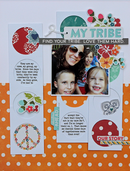 """""""Bohemian Brew"""" scrapbooking layout using pea pod parts, coordinating stickers, puffy stickers, and digital cut files.  Jillibean Soup scrapbooking layout.  How to use a cut file on a scrapbooking layout.  #cutfile #jillibeansoup #scrapbooker #bohemianbrew"""