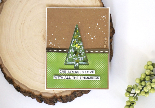 Shape shaker card using Jillibean Soup's retro tree shape shaker card and insert, stamp and die set, tree shaker filler, and All About Dots paper pad.  How to make a shape shaker card.  Jillibean Soup cardmaking.  #jillibeansoup #shapeshakercard #retrotree #stampannddieset
