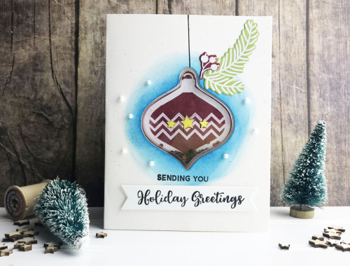 Shape shaker card using Jillibean Soup's ornament shaker card and insert, clear stamps and dies, and shaker filler.  How to make a shaker card.  Jillibean Soup cardmaking.  #jillibeansoup #cardmaking #shapeshaker #clearstampanddieset #ornament #shakerfiller
