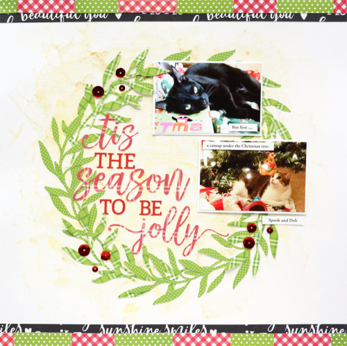 Holiday scrapbook layout using Jillibean Soup's All About Plaid paper pad, All About Dots paper pad, red sequins, and a cut file.  How to create a scrapbook layout using a cut file.  Jillibean Soup scrapbooker.  #jillibeansoup #scrapbooker #layout #cutfile #allaboutdotspaperpad #allaboutplaidpaperpad