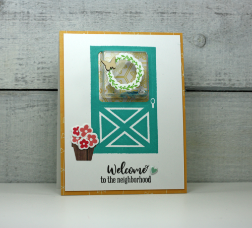 """""""Shape Shaker"""" card using Bohemian Brew, clear stamps and dies, shaker jewels & sequins, puffy stickers, and wood veneers.  How to make a shape shaker card.  Jillibean Soup card making.  #jillibeansoup #cardmaking #shapeshaker #bohemianbrew #stampanddieset"""