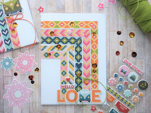 """""""Bohemian Brew"""" card using patterned paper, puffy stickers, pea pod parts, and sequins.  How to create a card with Bohemian Brew.  Jillibean Soup cardmaking.  #jillibeansoup #cardmaking #bohemianbrew #peapodparts #puffystickers #sequins"""