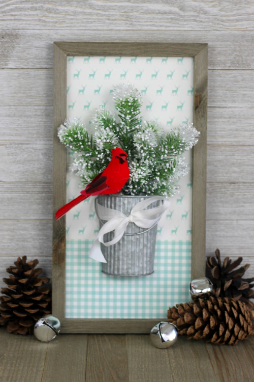 Home decor project using Jillibean Soup's Mix the Media rustic white frame, pegboard corrugated tin and Garden Harvest patterned papers.  How to create a home decor piece with mix the media.  Jillibean Soup home decor.  #jillibeansoup #homedecor #mixthemedia #projects #rusticwhiteframe #gardenharvest #pegboardcorrugatedtin
