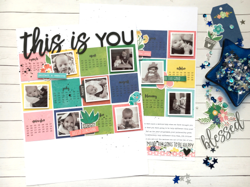 Scrapbook layout using Jillibean Soup's You Make Miso Happy including patterned paper and pea pod parts and Garden Harvest foam stickers.  How to create a scrapbook layout with You Make Miso Happy and Garden Harvest.  Jillibean Soup scrapbooker.  #jillibeansoup #scrapbooker #youmakemisohappy #gardenharvest #foamstickers