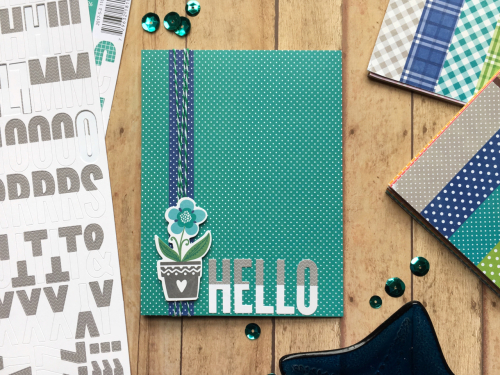 Scrapbook card using Jillibean Soup's All About Dots paper pad, You Make Miso Happy pea pod parts,  and alphabeans.  How to create a card using paper pads and alphabeans.  Jillibean Soup cardmaking.  #jillibeansoup #cardmaking #allaboutdotspaperpad #alphabeans #youmakemisohappy #peapodparts