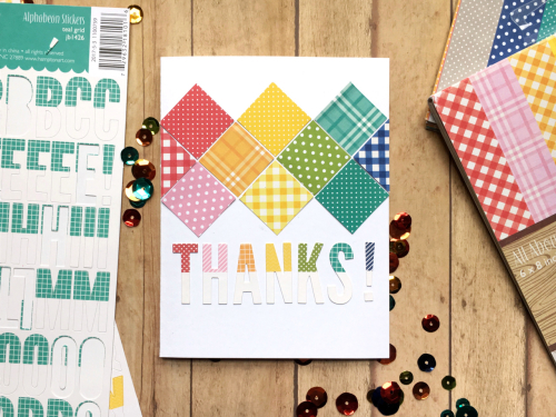 Card using Jillibean Soup's All About Dots and All About Plaid paper pads and alphabeans.  How to create a card with paper pads and alphabeans.  Jillibean Soup cardmaking.  #jillibeansoup #cardmaking #allaboutdotspaperpad #allaboutplaidpaperpad #alphabeans