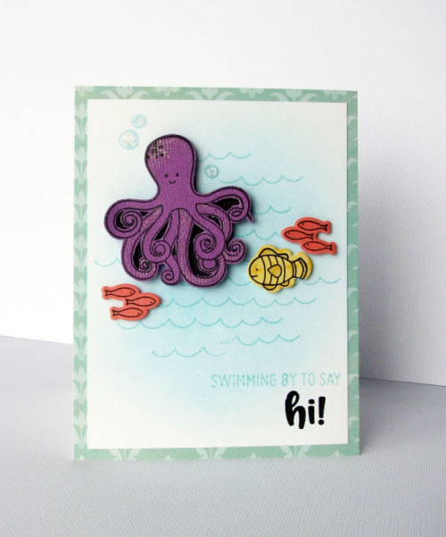 """2 Cool For School"" card created using stamp and die set.  How to stamp on a card.  Jillibean Soup cardmaking.  #jillibeansoup #cardmaking #octopus #stampanddieset #2coolforschool"
