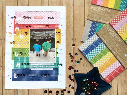 Scrapbook layout using Jillibean Soup's All About Dots and All About Plaid paper pad, alphabeans, sequins, Garden Harvest stickers, and You Make Miso Happy stickers.  How to create a scrapbook layout with paper pads and alphabeans.  #jillibeansoup #scrapbooker #layout #allaboutdotspaperpad #allaboutplaidpaperpad #alphabeans #gardenharvest #youmakemisohappy