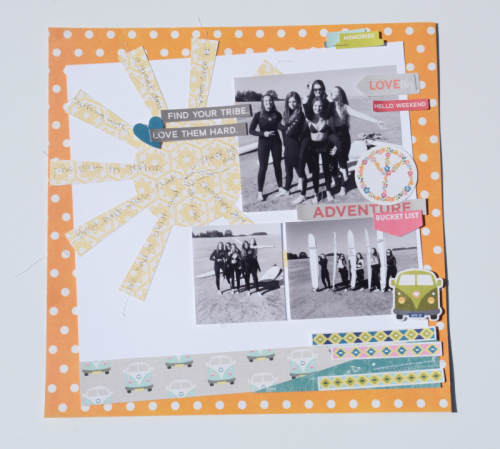 Bohemian Brew card using patterned papers, coordinating stickers, and pea pod parts.  How to create a scrapbook layout with Bohemian Brew.  Jillibean Soup scrapbooker.  #jillibeansoup #scrapbooker #bohemianbrew