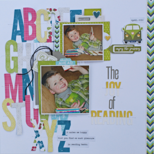 Scrapbook layout using patterned paper, alphabeans, pea pod parts, coordinating stickers, diecut alphas, and corrugated paper.  Jillibean Soup scrapbooker.  #jillibeansoup #scrapbooker #patternedpaper #alphabeans #corrugatedpaper