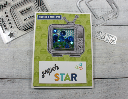 Shape Shaker 2 Cool For School card using patterned paper, shape shaker, shape shaker fillers, puffy stickers, and clear stamp and die set.  How to stamp on a shapeshaker card.  Jillibean Soup cardmaking.  #jillibeansoup #cardmaking #2coolforschool #stamps #shapeshaker