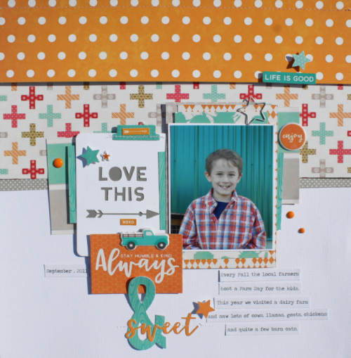 Scrapbook layout using patterned papers, mini placemats, day 2 day shaped paper clips, and pea pod parts.  How to create a scrapbook layout with patterned papers.  Jillibean Soup scrapbooker.  #jillibeansoup #scrapbooker #layouts #patternedpapers #miniplacemats #day2day