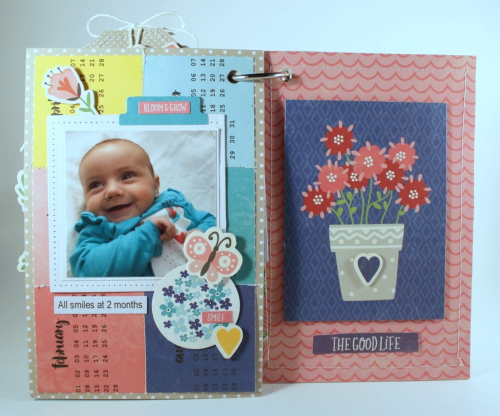 Mini album created using Jillibean Soup's You Make Miso Happy collection including patterned paper, coordinating stickers, pea pod parts, washi sheets, foam stickers, and epoxy stickers, and all about dots paper pad, all about plaid paper pad, and shaker filler sequins.  How to create mini album with You Make Miso Happy Soup.  Jillibean Soup mini album.  #jillibeansoup #minialbum #youmakemisohappy #allaboutdotspaperpad #allaboutplaidpaperpad