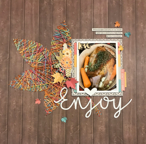 Scrapbook layout using Farmhouse Stew, Coordinating Stickers, Wood Veneer Words, and a cutfile.  How to use a cutfile on a scrapbook page.  Jillibean Soup scrapbooker.  #jillibeansoup #scrapbooker #layout #farmhousestew #cutfile
