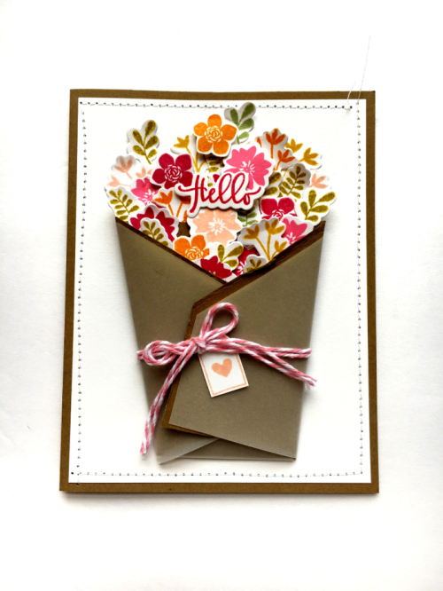 Hello Stamped Flower card by Kira Ness for Jillibean Soup