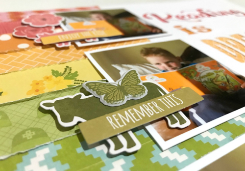 Scrapbook layout using farmhouse stew, bohemian brew, 2 cool for school, and cut files.  How to use a cut file on a scrapbook layout.  Jillibean Soup scrapbooking layout.  #jillibeansoup #scrapbooker #farmhousestew #2coolforschool #bohemianbrew #cutfile