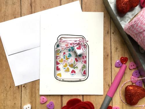 Shape shaker card using Jillibean Soup's jar shaker card and insert and mason jar stamp and die set.  How to make a shaker card.  Jillibean Soup cardmaking.  #jillibeansoup #cardmaking #shapeshaker #jar #masonjar #stampanddieset