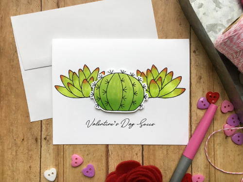 Stamped card using Jillibean Soup's succulent stamp and die set.  How to stamp on a card.  Jillibean Soup cardmaking.  #jillibeansoup #cardmaking #stampanddieset #succulents