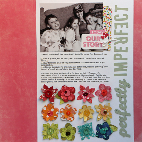 """Shades of Color Soup"" and ""Bowl of Dreams"" and ""Bohemian Brew"" scrapbooking layout using pea pod parts, puffy stickers, adhesive sequins, and shaker fillers.  Jillibean Soup scrapbooking layout.  How to create a scrapbook layout using paper scraps.  #jillibeansoup #scrapbooker #paperscraps #peapodparts"