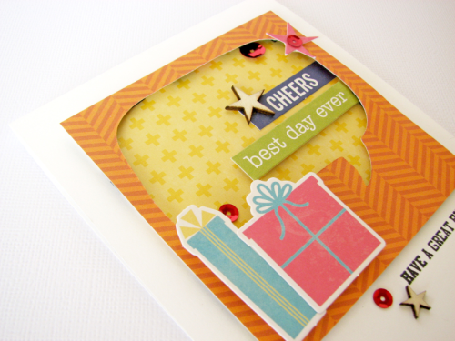 """""""Souper Celebration"""" card created with a cut file, pea pod parts, clear stamps, and adhesive sequins.  Jillibean Soup cardmaking.  How to create a card using a cut file.  #stamping #jillibeansoup #cardmaking #soupercelebration #cutfile"""