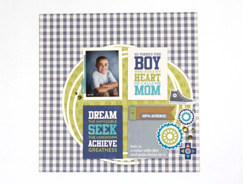 """2 Cool For School"" scrapbooking layout using pea pod parts, adhesive sequins, and tag banners.  Jillibean Soup scrapbooking layout.  How to use embellishments on a layout.  #jillibeansoup #scrapbooker #2coolforschool  #peapodparts"