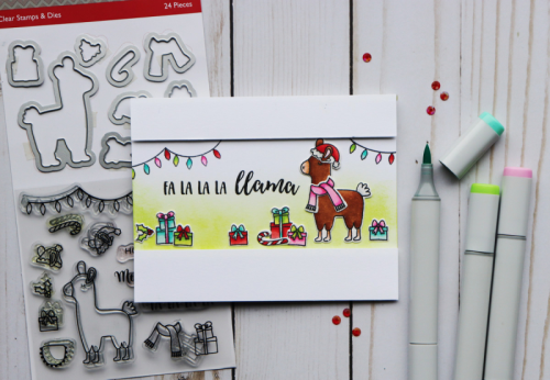 Stamped card using clear stamp and die sets featuring the llama.    How to stamp on a card.  Jilllibean Soup cardmaking.  #jillibeansoup #cardmaking #llama #stampanddieset