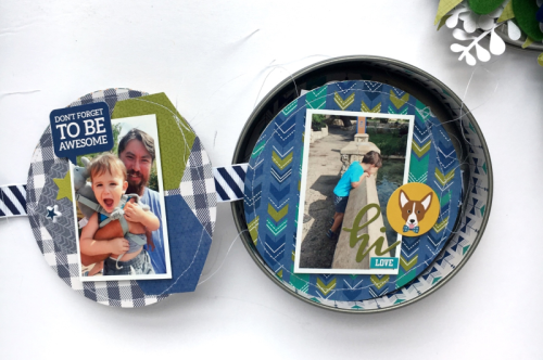 """2 Cool For School"" mini album using the 2 Cool For School patterned paers, soup labels, pea pod parts, and felt flowers.  How to create a mini album using 2 Cool For School.  Jillibean Soup mini album.  #2coolforschool #feltflower #minialbum #peapodparts"