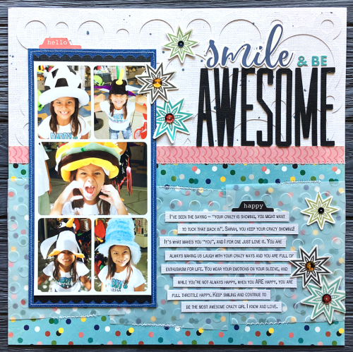 Scrapbook layout using Jillibean Soup's You Make Miso Happy patterned paper and pea pod parts, Bowl of Dreams coordinating label stickers, adhesive sequins and cut files.  How to use a cut file on a scrapbook layout.  Jillibean Soup scrapbooker.  #jillibeansoup #scrapbooker #layout #youmakemisohappy #bowlofdreams #cutfile