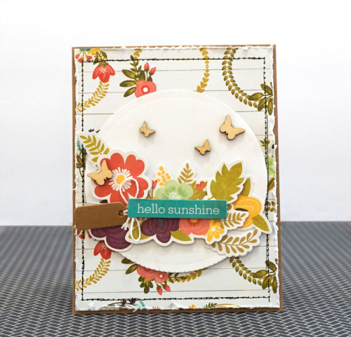 Card using Jillibean Soup Garden Harvest Collection including patterned paper, pea pod parts, stamps, and wood veneer.  How to create a card with Garden Harvest.  Jillibean Soup cardmaking.  #jillibeansoup #cardmaking #gardenharvest