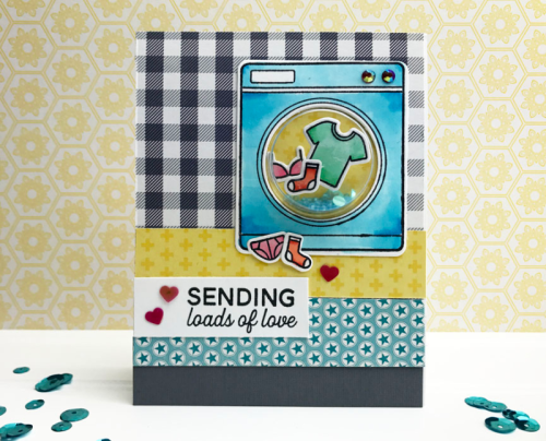 Shape Shaker Card using 2 Cool For School, stamp and die set, jewels & sequins, and seed beads.  Jillibean Soup cardmaking.  How to make a shape shaker card.  #cardmaking #jillibeansoup #2coolforschool #shapeshaker