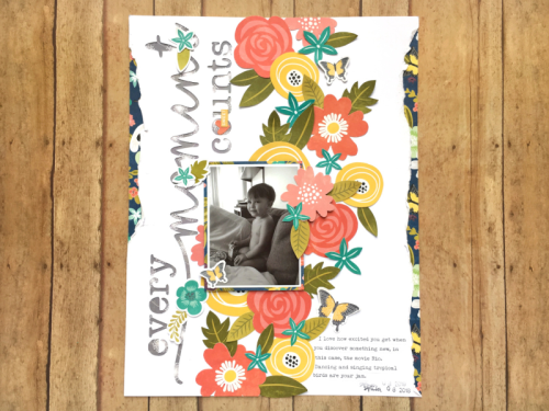 Scrapbook layout using the Jillibean Soup Garden Harvest collection including patterned paper, coordinating stickers, pea pod parts, and a cut file.  How to use a cut file on a scrapbook layout.  Jillibean Soup scrapbooker.  #jillibeansoup #scrapbooker #layout #gardenharvest #cutfile