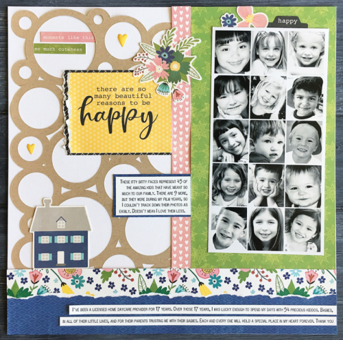 Scrapbook layout using the Jillibean Soup You Make Miso Happy collection including patterned paper, pea pod parts, and epoxy stickers.  How to create a scrapbook layout with You Make Miso Happy.  Jillibean Soup scrapbooker.  #jillibeansoup #scrapbooker #layout #youmakemisohappy #patternedpaper #peapodparts #epoxystickers #cutfile