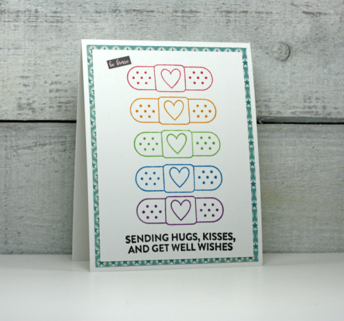 """""""2 Cool For School"""" card using patterned paper, clear stamps, and coordinating stickers.  How to stamp on a card.  Jillibean Soup cardmaking.  #jillibeansoup #cardmaking #stamping #2coolforschool #coordinating stickers"""