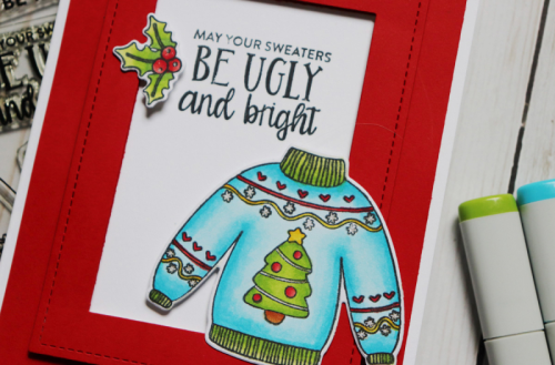 Stamped card using Jillibean Soup Be Tacky Shaker stamps.  How to stamp on a card.  Jillibean Soup cardmaking.  #jillibeansoup #cardmaking #shakerstamp #betacky #sweater