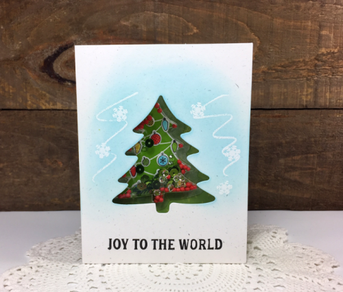 Stamped card using the Jillibean Soup Tree Shaker Card and Insert with the clear stamp and dies set and the shaker filler.  How to create a shaker card.  Jillibean Soup cardmaking.  #jillibeansoup #cardmaking #shakercard #stamping #tree