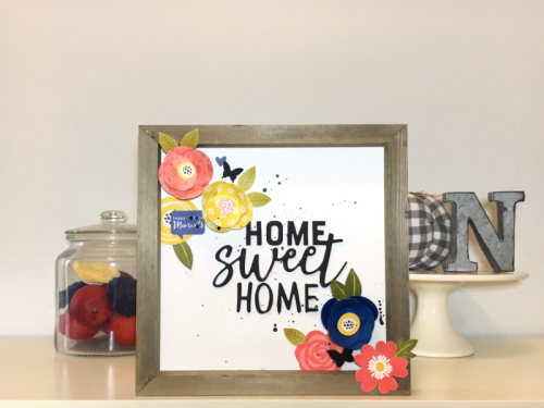 Home decor project using the Jillibean Soup Mix the Media rustic frame, Garden Harvest patterned paper, You Make Miso Happy patterned paper and foam stickers.  How to create a home decor piece.  Jillibean Soup Mix the Media.  #jillibeansoup #mixthemedia #homedecor #rusticframe #gardenharvest #youmakemisohappy