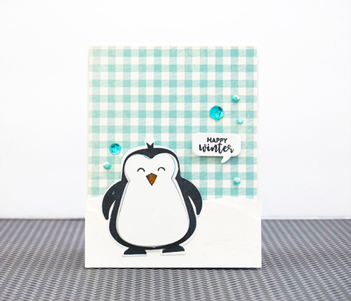 Stamped card using the Jillibean Soup Garden Harvest collection  and the penguin stamp and die set.  How to make a stamped card.  Jillibean Soup cardmaking.  #jillibeansoup #cardmaking #gardenharvest #penguin #stampanddieset