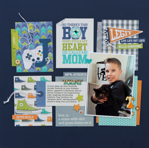 """""""Bite Size Bits"""" scrapbook layout featuring 2 Cool For School patterned paper, letter die cuts, pea pod parts, coordinating stcikers, puffy sticker and wood veneer shapes.  How to create a scrapbook layout with bite size bits.  Jillibean Soup scrapbooking layout.  #jillibeansoup #scrapbooker #2coolforschool #bitesizebits"""