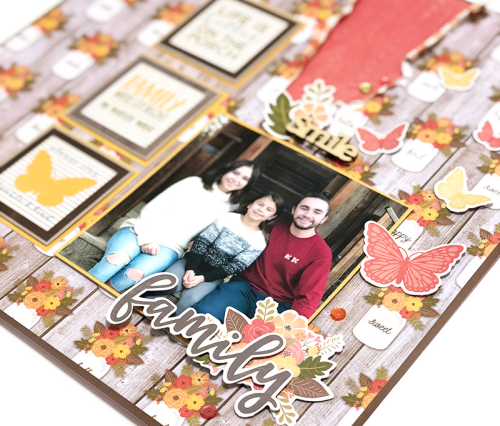"""""""Bite Size Bits"""" scrapbook layout featuring Farmhouse Stew patterned paper, adhesive sequins, pea pod parts, wood veneer words.  How to create a scrapbook layout with bite size bits.  Jillibean Soup scrapbooking layout.  #jillibeansoup #scrapbooker #farmhousestew #bitesizebits"""
